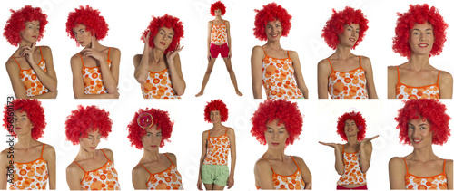 Beautiful woman in an orange wig