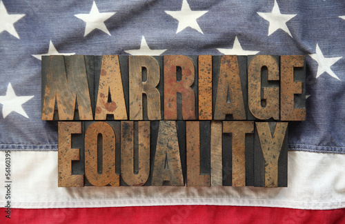 USA flag with the words 'marriage equality'