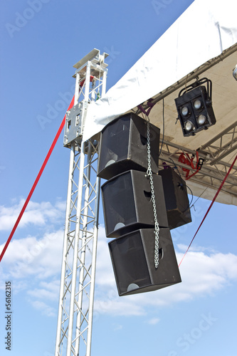 Outdoor concert stage construction over sky
