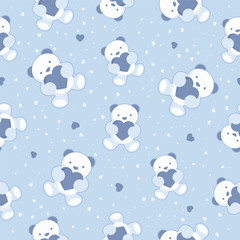 Seamless Blue Baby Background with teddy bear and hearts.