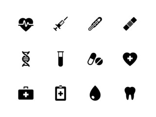 Medical icons on white background.