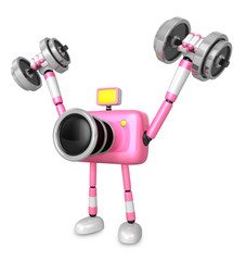 3D pink Camera character a Dumbbell Shoulders Press Exercise. Cr