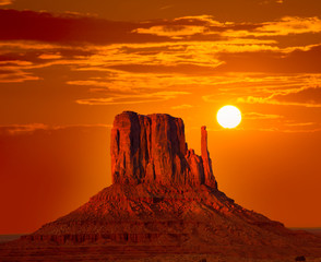 Monument Valley West Mitten at sunrise sky
