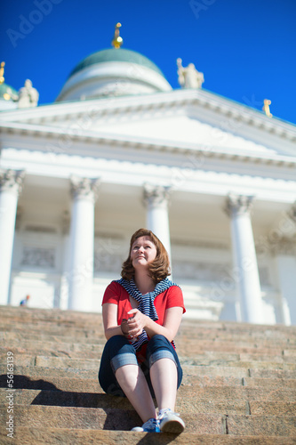 Young tourist in Helsinki, Finland