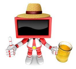 Red TV farmer Mascot the left hand best gesture and right hand i