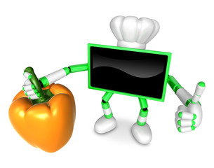 Green TV chef Character right hand sweet-pepper. The best gestur