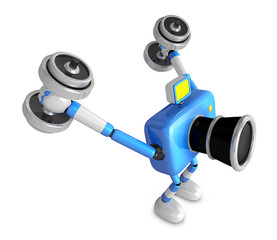 3D Blue Camera character a Dumbbell Kick Back Exercise. Create 3