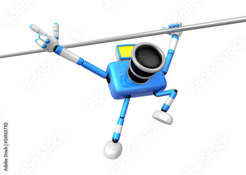 Blue camera with one hand horizontal bar exercises. Create 3D Ca