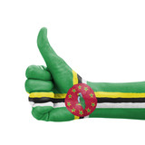 Hand with thumb up, Dominica flag painted