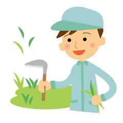 草刈り 作業員 男性
