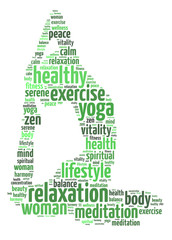 Words illustration of a woman doing yoga exercise
