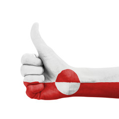 Hand with thumb up, Greenland flag painted