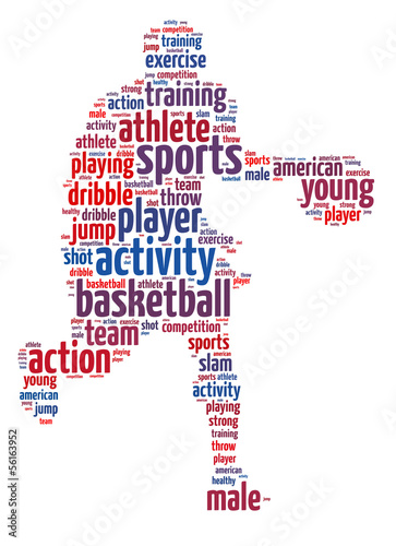 Words illustration of a basketball player over white background