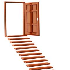 Orange stairs and open doors