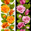 Vector yellow and pink rose vertical seamless pattern