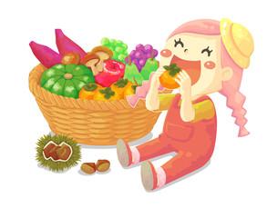 秋の食べ物と女の子
