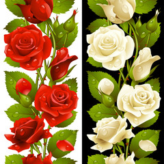 Vector red and white rose vertical seamless pattern