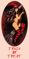 Trick or Treat Halloween card   Sexy witch  vector