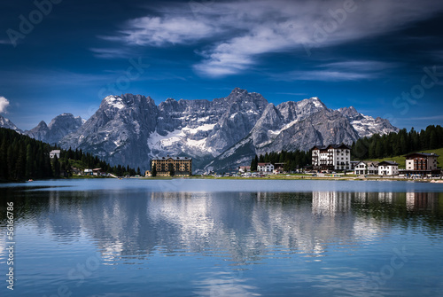 Lago Misurina, Misurina lake in Dolomite Alps, Italy, Europe