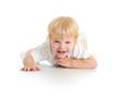 Happy kid lying on floor