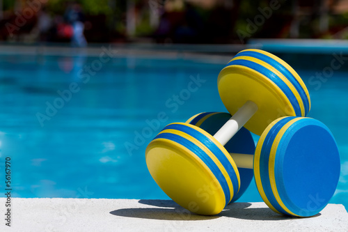 canvas print picture Two plastic dumbbells for water aerobics