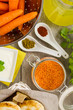 Spiced Carrot and Lentil soup ingredients