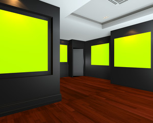 Empty room interior with green chromakey backdrop canvas