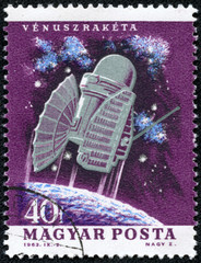 stamp printed in Hungary shows spacecraft Venus space probe