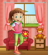 A cute young girl inside the house