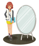 A schoolgirl standing beside the mirror