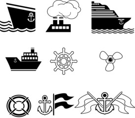 set of boat icons