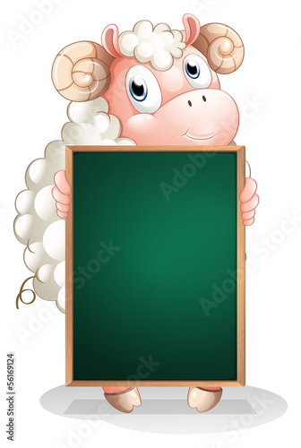 A shy sheep holding an empty blackboard
