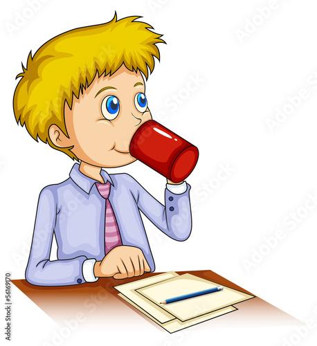 A businessman drinking coffee