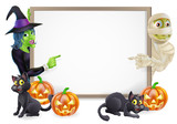 Fototapety Mummy and Witch Halloween Sign