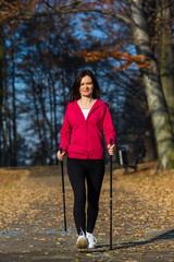 Nordic walking - active people outdoor