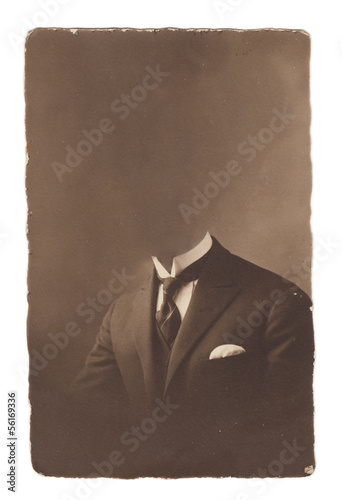 Old portrait photo isolated on white background