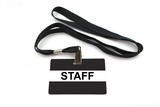 Staff badge with strip isolated on white background