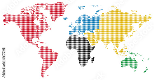 olimpic colors men pattern world map