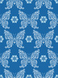 abstract floral butterflies on blue background