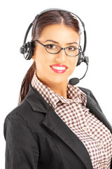 Smiling female customer support with headphones and microphone
