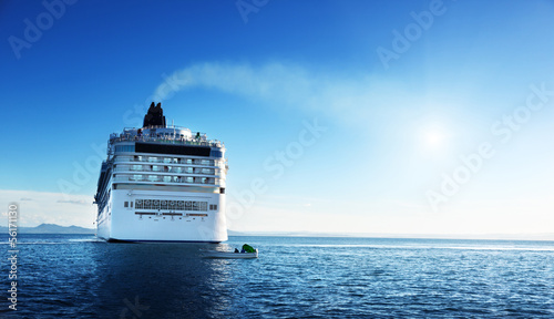 Caribbean sea and cruise ship in sunset time