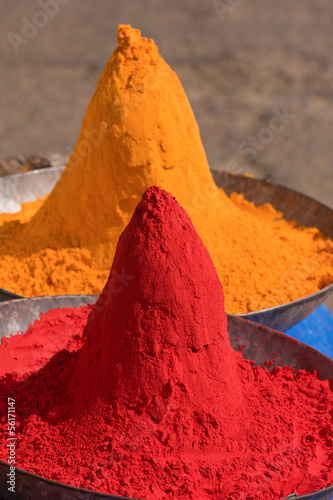 Colored colorful powder kumkum on Indian bazaar