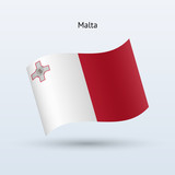 Malta flag waving form. Vector illustration.