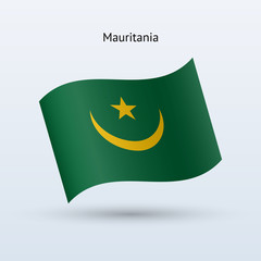 Mauritania flag waving form. Vector illustration.