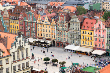 View of the city from a height, Wroclaw, Poland, Europe.
