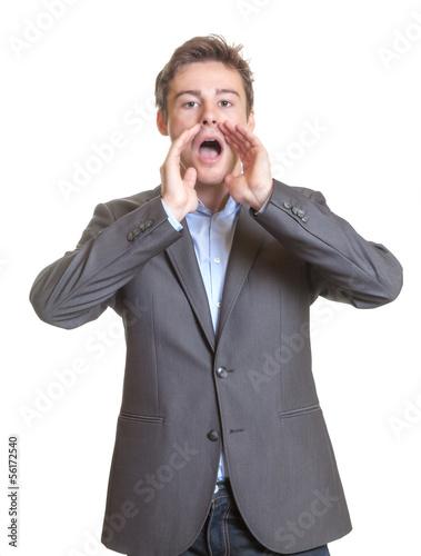 Shouting young businessman
