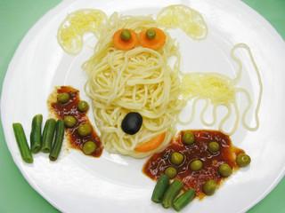 creative pasta food dog shape