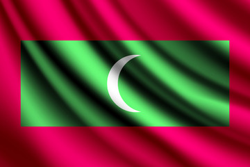 Waving flag of Maldives, vector