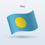 Palau flag waving form. Vector illustration.