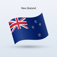 New Zealand flag waving form. Vector illustration.